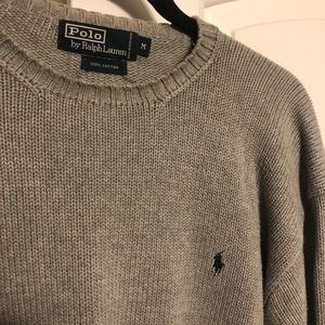 Polo sweater M GUC, gray, navy logo, 100% cotton